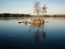 Island. In an ice covered lake. Storljusen, Sala, Västmanland, Sweden royalty free stock image