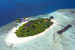 Island. Aerial view of island, Maldives Royalty Free Stock Photography