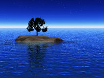 Island. Little isle in the sea with one isolated pefect tree, night scene stock images