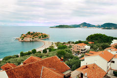 Island in Adriatic sea. Small island Sveti Stefan in Adriatic sea in Montenegro Stock Images