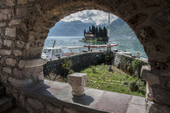 Island in the Adriatic sea. Island in the sea against the background of mountains Stock Photo