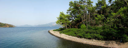 Island in aegean sea panorama Royalty Free Stock Photography