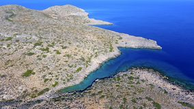 Island. Aerial view of a small island in Crete Stock Photos