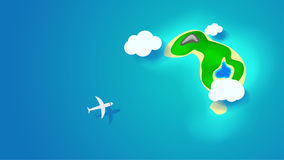 Island with airplane. Illustration of island in the middle of blue water with flying airplane view from top royalty free illustration