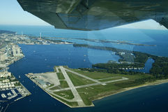 Island Airport. Flying high over Toronto's Island Airport Royalty Free Stock Photo