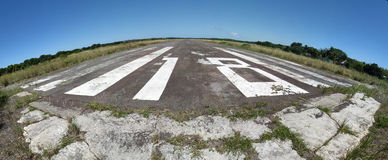 Island Airstrip. Stitched Panorama of Inhaca Island Airstrip, Mozambique Stock Photography