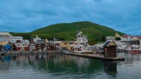 Island Akureyri 08 21 sikt för 2018 landskap från havet Gå tillbaka till arkivfoto