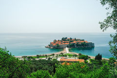 The island of Aman Sveti Stefan, Montenegro. View from a height of the island of Aman Sveti Stefan in Montenegro Royalty Free Stock Images