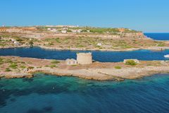 Island and ancient defensive works. Mahon, Minorca, Spain stock image