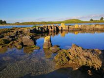 The island. Ancient lava flows at the island in Port Fairy Stock Images
