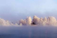Island on the Angara River in the center of Irkutsk in winter Stock Image