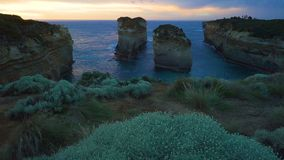 Island Archway lookout at sunset in Twelve Apostles on the Great Ocean Road in Australia stock video