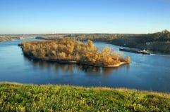 Island with autumn landscape. Ukraine Royalty Free Stock Photos