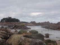 Island aux oiseaux - Rocks and clouds - France. The Ile aux oiseaux is a small island of the Gulf of Morbihan belonging to the state. She is managed by the Royalty Free Stock Photography