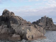 Island aux oiseaux, rocks, sea - Bretagne - France. The Ile aux oiseaux is a small island of the Gulf of Morbihan belonging to the state. She is managed by the Stock Images