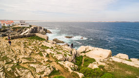 Island Baleal naer Peniche on the shore of the ocean in west coast of Portugal Royalty Free Stock Image