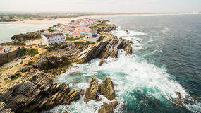 Island Baleal naer Peniche on the shore of the ocean in west coast of Portugal Stock Photography
