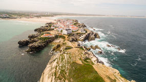 Island Baleal naer Peniche on the shore of the ocean in west coast of Portugal Stock Photos