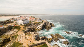 Island Baleal naer Peniche on the shore of the ocean in west coast of Portugal Stock Images