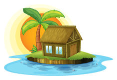 An island with a bamboo house Royalty Free Stock Image