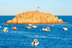 Island in the Bay of Tossa de Mar. Stock Photo