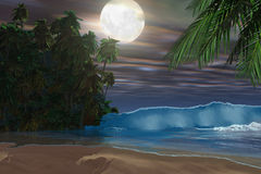 Island Beach. Moonlight shines down on this gorgeous beach during the night of the full moon