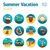 Island beach icon set. Summer. Vacation Royalty Free Stock Photography