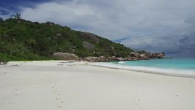 Island beach in indian ocean on seychelles stock video