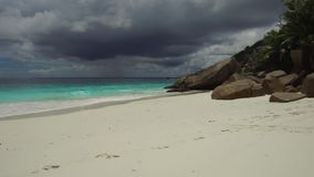 Island beach in indian ocean on seychelles stock video footage