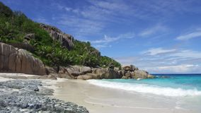 Island beach in indian ocean on seychelles stock video