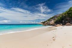 Island beach in indian ocean on seychelles Royalty Free Stock Image