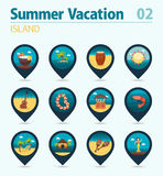 Island beach pin map icon set. Summer. Vacation Royalty Free Stock Image