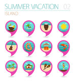 Island beach pin map icon set. Summer. Vacation Royalty Free Stock Photos
