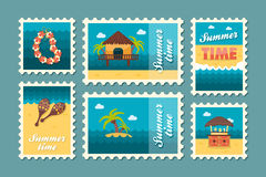Island beach stamp set. Summer. Vacation Stock Images