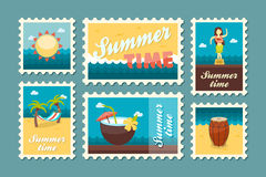 Island beach stamp set. Summer. Vacation Royalty Free Stock Image