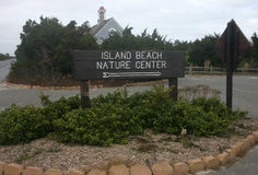 Island Beach State Park. Information sign at the entrance Stock Image