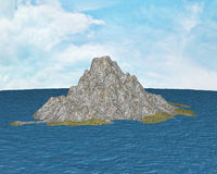 Island. Beautiful, sunny island, is surrounded by ocean. On the island there are rocks and vegetation Stock Photography