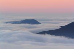 Island. Beautiful view of the Babugan Yayla at dawn with Demerji stock image