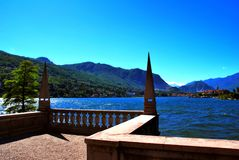 Island Bella. Lake Maggiore Lombardia lake city summer country  colors sky  cloud tree panorama Stock Photography