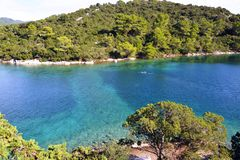 Island on the big lake in the national park of Mljet Stock Images