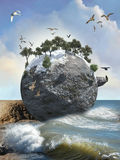 Island of birds. Stone island in the surrounded sea of birds Stock Photography