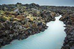 Island blå lagun kanal, geotermisk brunnsort Arkivbilder