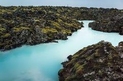 Island blå lagun Naturlig geotermisk brunnsort Royaltyfri Foto