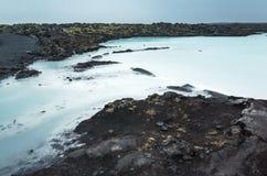 Island blått lagun landskap Geotermiska Spa Arkivfoto