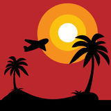 Island with black silhouette of palm trees and aircraft on sunrise on white background, vector illustration. Island with black silhouette of palm trees and Stock Photos