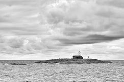 Island, black and white image. Royalty Free Stock Photography
