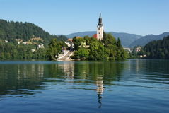 The island of Bled. In the morning, seen from under Straza Royalty Free Stock Image