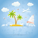 Island on blue background Royalty Free Stock Images