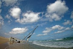 Island Boa Vista in Cape Verde, landscape - seaside with shipwreck of the sailing ship royalty free stock photo