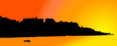 Island and boat. Illustration in contrast colours (orange, yellow, black Royalty Free Illustration